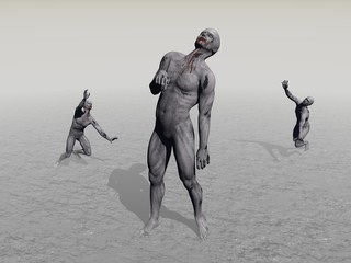 Three zombies very desperate - 3d render