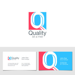 Corporate Logo Q Letter company vector design. Logotype