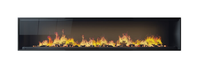 Large fireplace, fire, burning wood, framed glass isolated