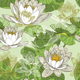 Seamless background with blooming water lilies and dragonflies