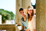 happy young couple teenager first love together in summertime poster