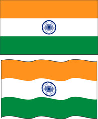 Flat and waving Indian Flag. Vector