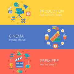 Flat video movie production cinema design icons set