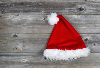 Traditional Santa Hat on Rustic Wood