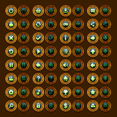 Game menu icons steampunk buttons set