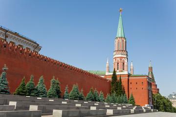 Nikolskaya tower with Kremlin wall in summer