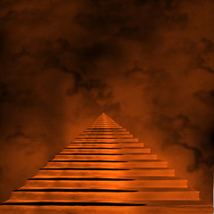 Staircase leading to heaven or hell. Light at the End of the Tun