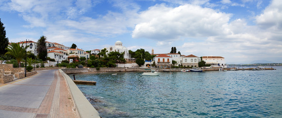 Spetses island waterfront, Greece