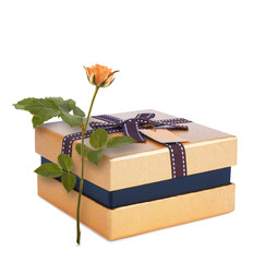 Beautiful gift box in gold paper with bow and rose isolated on a