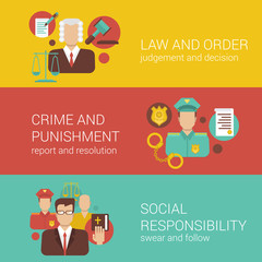 Law court judge policeman religion social flat infographics