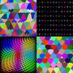Set of Abstract rainbow colorful tiles mosaic painting geometric