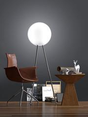 Lederstuhl mit Holztisch