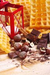 Cioccolato,miele e waffel