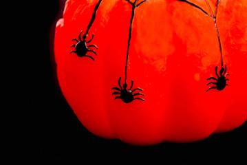 Spiders on Wax Pumpkin