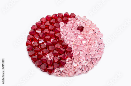 Red And Pink Crystals In Shape Of Ying and Yang - 71144034