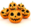 canvas print picture - Halloween pumpkins