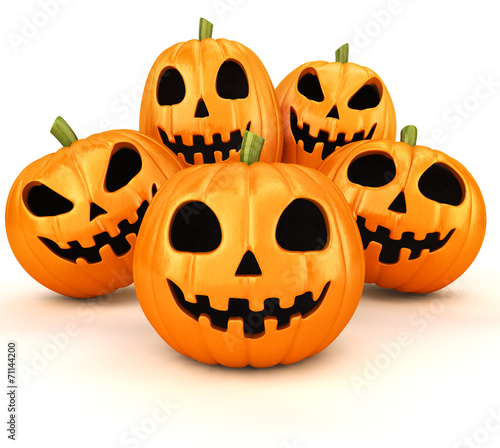 canvas print picture Halloween pumpkins