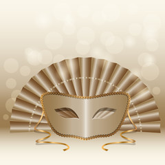 biege mask and fan