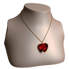Ruby Necklace on bust stand