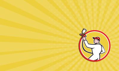 Business card Painter Spray Paint Gun Side Circle Cartoon