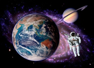 Astronaut Spaceman Earth Saturn