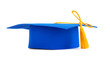 Blue graduation cap with gold tassel isolated on a white backgro - 71145075