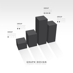 3D grap illustration Infographic black style
