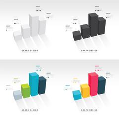 3D grap illustration Infographic set