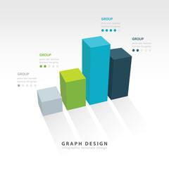 3D grap illustration Infographic 4 color