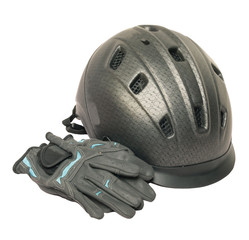 Horse riding grey  helmet and gloves isolated