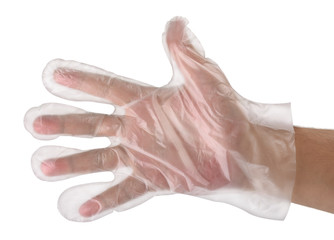 Hand in  plastic glove
