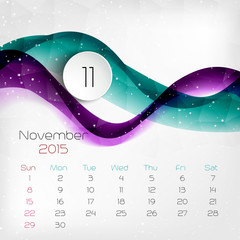 2015 Calendar. November. Vector illustration