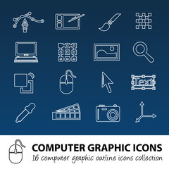computer graphics outline icons