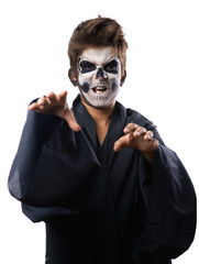 Teen with makeup skull cape wants  grab