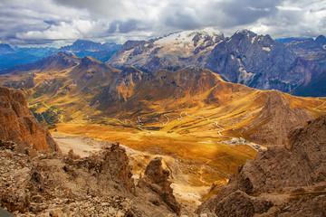 Italy - Dolomites. Mountains view from Pordoi
