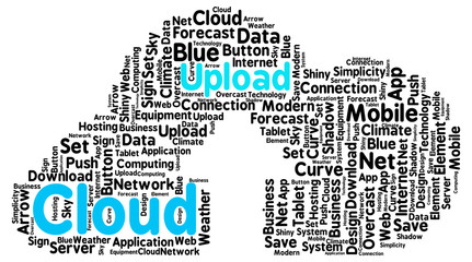 Upload cloud shaped as a real cloud with an arrow as a symbol of