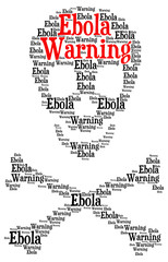 Ebola warning word cloud in a shape of a skull with crossed bone