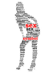 Sex symbol word cloud in shape of sexy woman