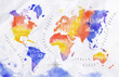 Watercolor world map red purple