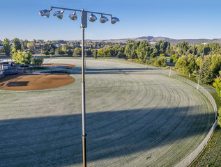 baseball fields covered by frost