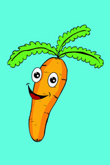 Carrot with Funny Face