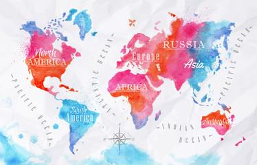 fototapeta akwarela mapa świata różowy niebieski