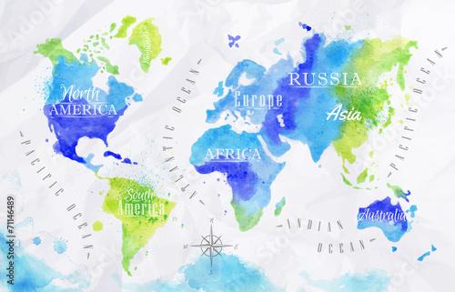 Mapa świata akwarela zielony niebieski
