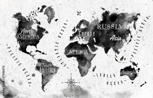 Juliste Ink world map