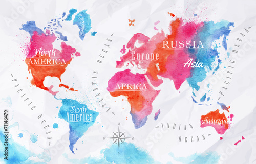 Poster Watercolor world map pink blue