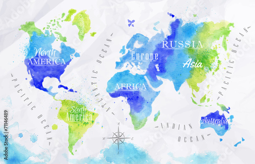 Poster Watercolor world map green blue