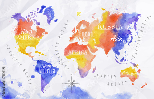 Juliste Watercolor world map red purple