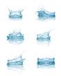 canvas print picture - water splash drop blue liquid