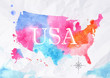 Watercolor map United States pink blue
