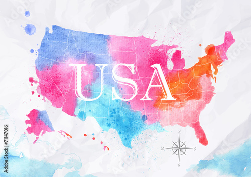 Poster Watercolor map United States pink blue